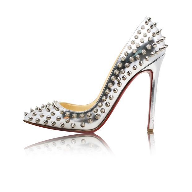 low priced 1a24c 15b66 Silver Pigalle Spiked Pumps