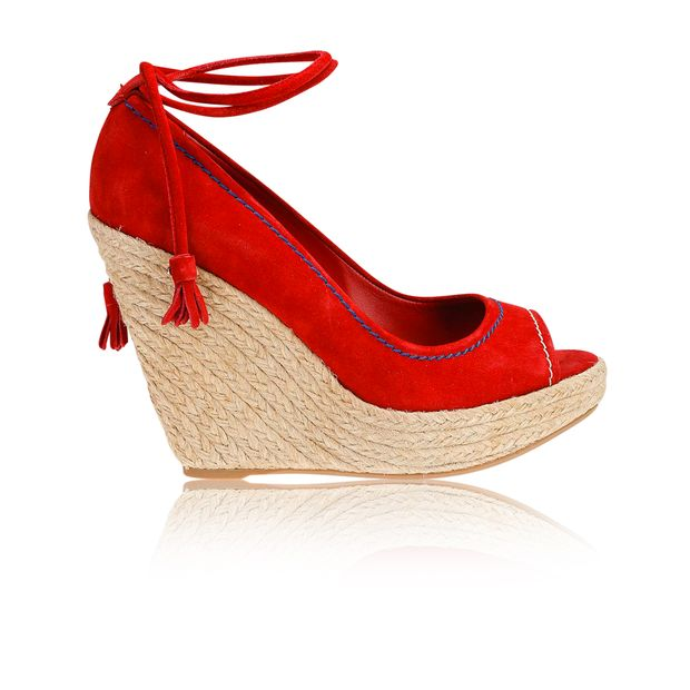 19d045d0333 SERGIO ROSSI Red Suede Peep Toe Wedge Sandals 0 thumbnail