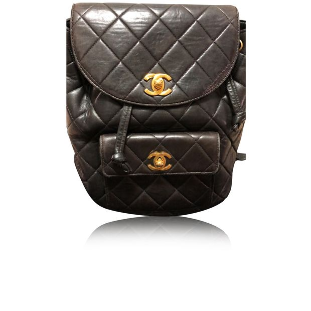 bc969fc4c0db CHANEL Black Quilted Lambskin Leather Medium Back Pack 0 thumbnail