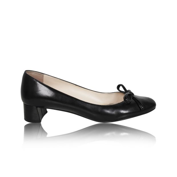 6ffc9254fb Black Low Block Heel Pumps by PRADA | StyleTribute.com
