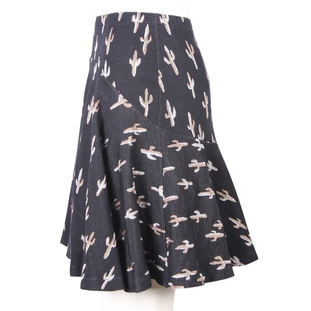 cbe3ae393d KENZO Silver And Gold Cacti Printed Black Cotton Mini Skirt 3 thumbnail