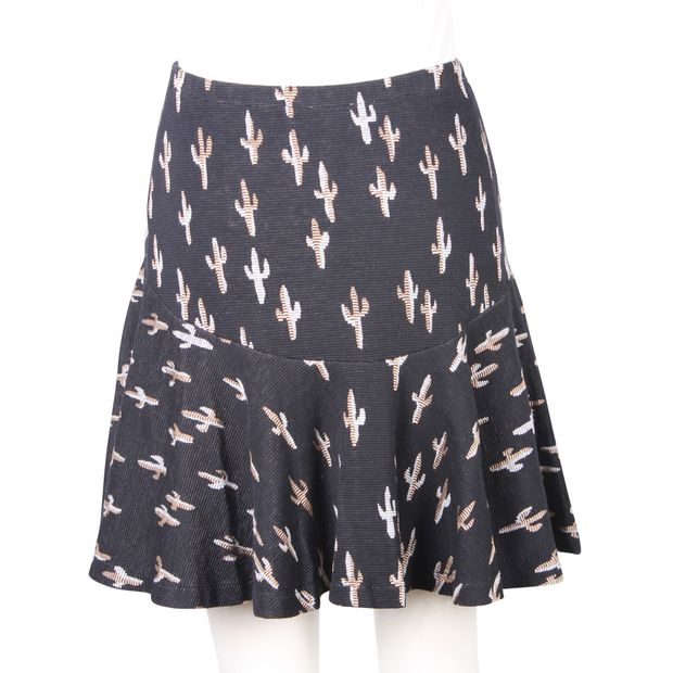c7a578a5d8 KENZO Silver And Gold Cacti Printed Black Cotton Mini Skirt 2 thumbnail
