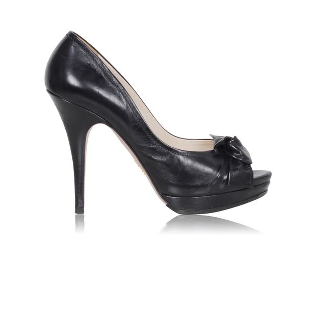 e652dacd8954 PRADA Black Leather Open-toe Pumps with node 0 thumbnail