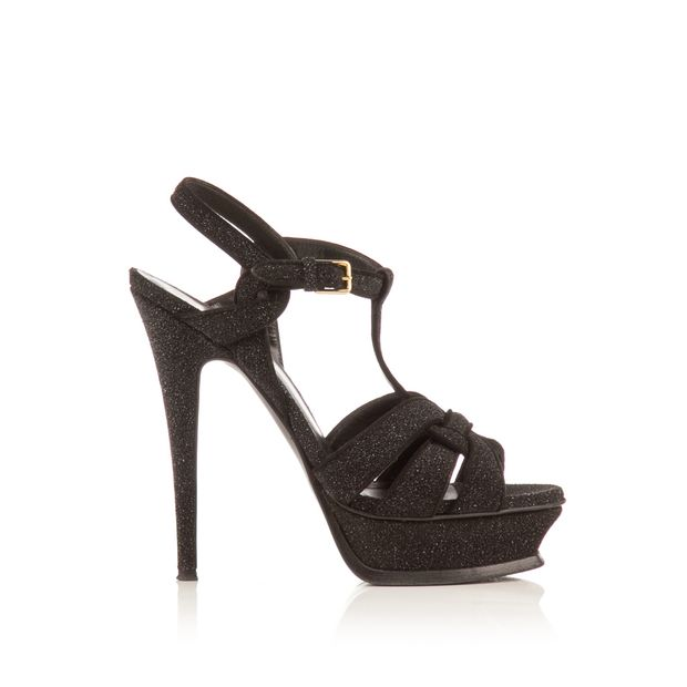 167fb42547a Black Glitter 105 Wolf Tribute Sandal Heels by YVES SAINT LAURENT ...