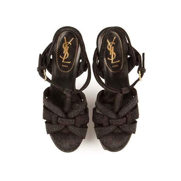 1dcad7b719c Black Glitter 105 Wolf Tribute Sandal Heels