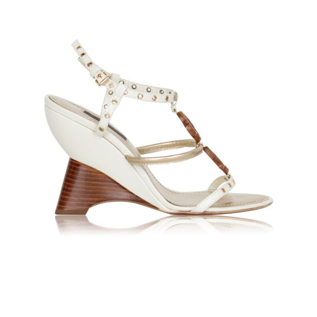 b1de972686 Louis Vuitton Beige Wedge Heel by LOUIS VUITTON | StyleTribute.com
