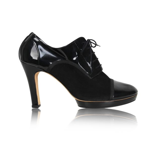 21a017ae9fa34 REPETTO Repetto Black Glazed Leather Suede Garbo Platform Oxford Heels Lace.  0 thumbnail