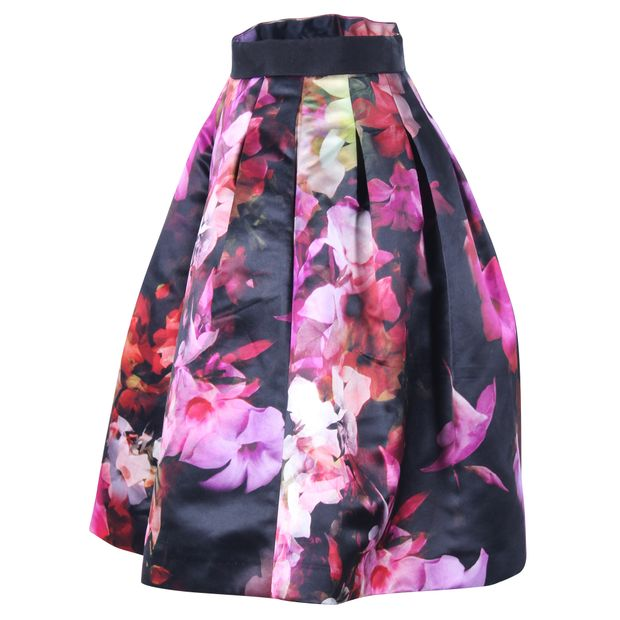 a94dc8b92 Black Cascading Floral Full Skirt by TED BAKER   StyleTribute.com