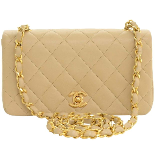 d0293847985d CHANEL Beige Quilted Lambskin Vintage Flap Mini Crossbody Bag 0 thumbnail