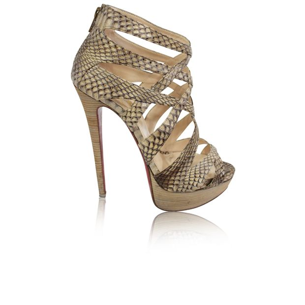 buy popular 80cf6 ba482 Christian Louboutin Open Toe Python Pumps
