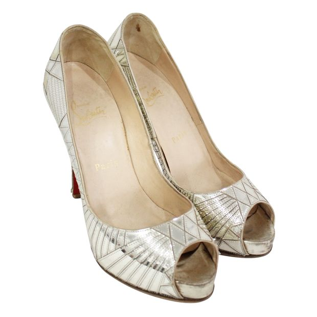 buy popular 19900 6bafb SILVER PUMPS OPEN ON THE FRONT