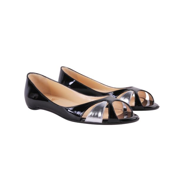 Black Leather Patent Open Toe Ballerinas