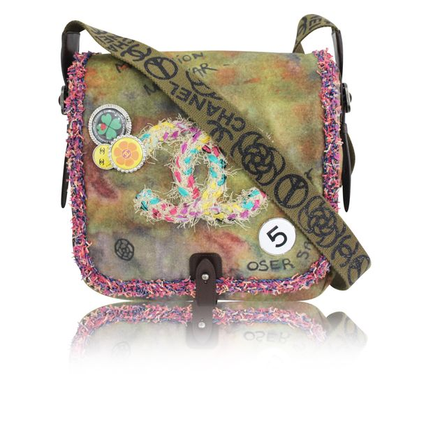 ee4c8ded4a2c Peace & Love' Shoulder Bag in Khaki Canvas by CHANEL | StyleTribute.com