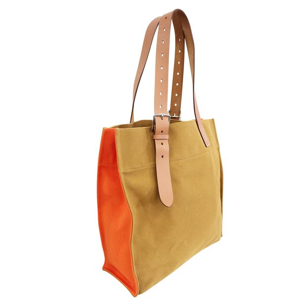 34221784b48b HERMÈS Hermès shopping bag Etrivière orange canvas and natural leather 1  thumbnail