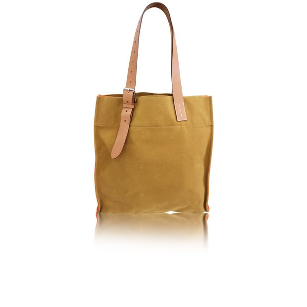 9116471a0 HERMÈS Hermès shopping bag Etrivière orange canvas and natural leather 0  thumbnail