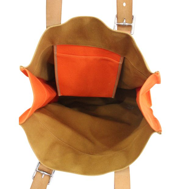 a1695ebb7e9b HERMÈS Hermès shopping bag Etrivière orange canvas and natural leather 4  thumbnail