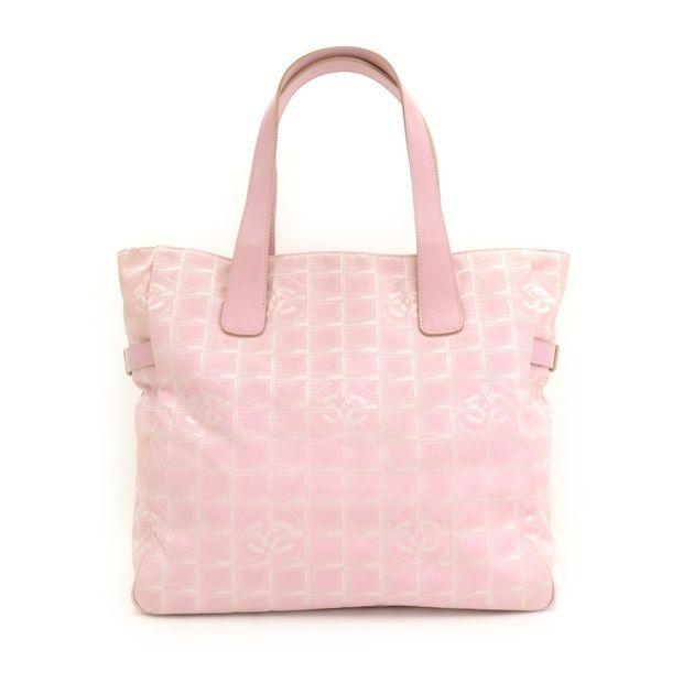 f7decb68ef08 CHANEL Chanel Travel Line Light Pink Jacquard Nylon Large Tote Bag ...