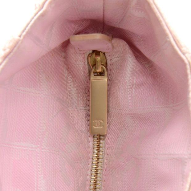 4bbc6875bcffbc CHANEL Chanel Travel Line Light Pink Jacquard Nylon Large Tote Bag 6  thumbnail