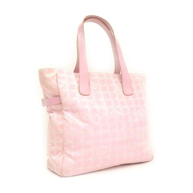 1a1c8d73c9d1e5 CHANEL Chanel Travel Line Light Pink Jacquard Nylon Large Tote Bag 1  thumbnail