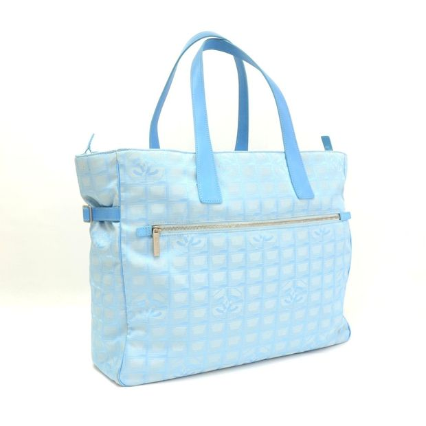 1193502adf26cb CHANEL Chanel Travel Line Light Blue Jacquard Nylon XL Tote Bag 1 thumbnail