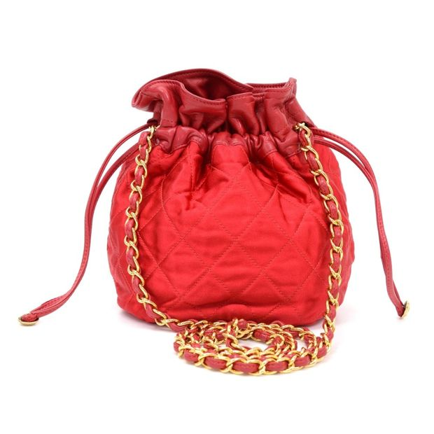 538928f26023 Vintage Chanel Red Quilted Satin Mini Bucket Shoulder Bag by CHANEL ...