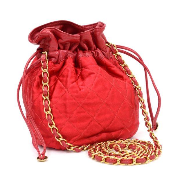 ec9e4744d193 CHANEL Vintage Chanel Red Quilted Satin Mini Bucket Shoulder Bag 1 thumbnail