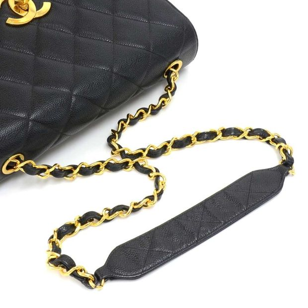 546cbb58d6bf CHANEL Vintage Chanel Large Black Quilted Caviar Leather Flap Shoulder Bag  7 thumbnail