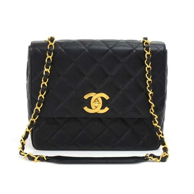 95c40328a883 CHANEL Vintage Chanel Large Black Quilted Caviar Leather Flap Shoulder Bag  ...