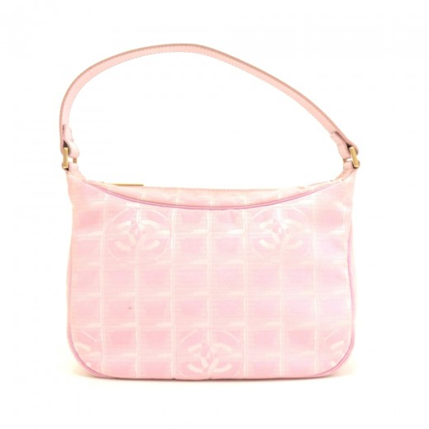 60afe5567bd0e2 Chanel Pink Jacquard Nylon Travel Line Pochette Hand Bag by CHANEL ...