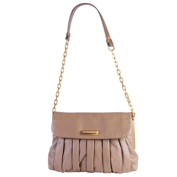 9a5832bd39 Taupe Lambskin Leather Shoulder Bag by MARC BY MARC JACOBS ...