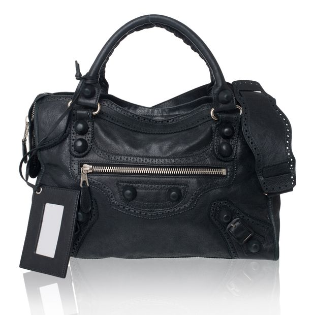 fb0118163a BALENCIAGA Black Lambskin Leather Covered Giant City Bag 0 thumbnail