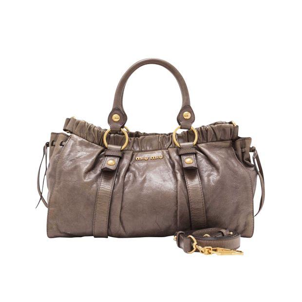 c1214a352d43 Vitello Lux Bag In Taupe by MIU MIU   StyleTribute.com