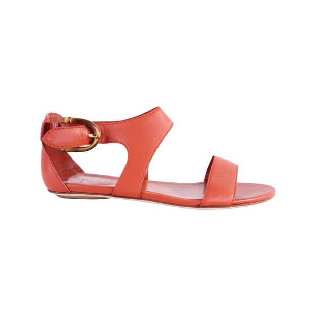 3b70f89c34ba Orange Leather Flats Sandals With Bamboo Buckle by GUCCI ...