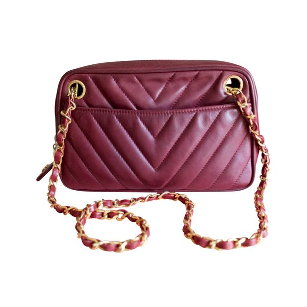 cd0f7203c826 Vintage Chevron Camera Bag in Burgundy by CHANEL