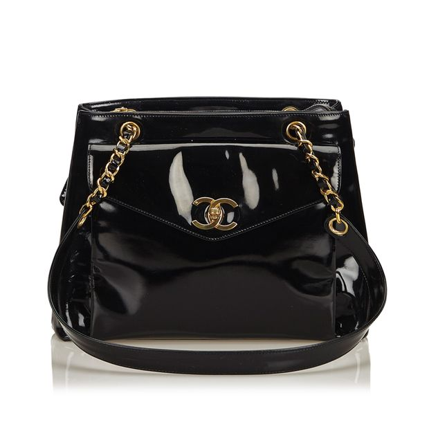 Patent Leather Chain Shoulder Bag by CHANEL  2b28a61e30e18