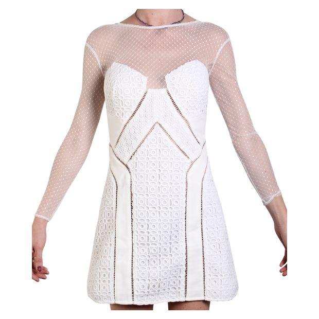 2009128222 Off White Lace Mini Dress by SELF-PORTRAIT | StyleTribute.com