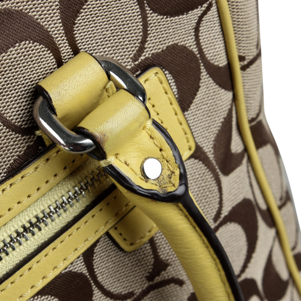 d7e4759b2 Brown Yellow Satchel Crossbody by COACH | StyleTribute.com