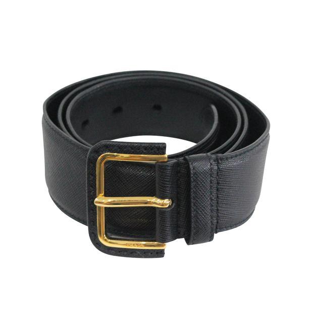 303c558820e1 Saffiano Gold Buckle Belt by PRADA