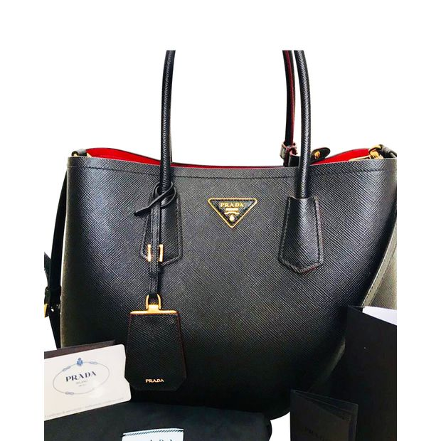 0e95d9855969 PRADA Saffiano Cuir Double Bag Medium Tote 0 thumbnail