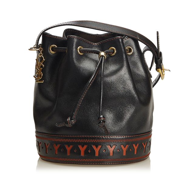 ff49d7ed080 Leather Drawstring Bucket Bag by YVES SAINT LAURENT | StyleTribute.com