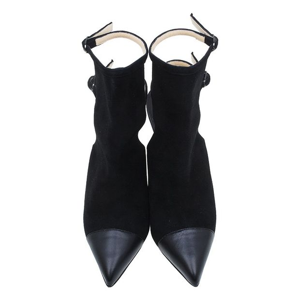 newest collection 5f3db cc394 Christian Louboutin Black Suede Double Strap Back Cap Toe Booties Size 39.5