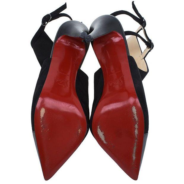 18b3b7a46634 CHRISTIAN LOUBOUTIN Christian Louboutin Black Suede Double Strap Back Cap  Toe Booties Size 39.5 4 thumbnail