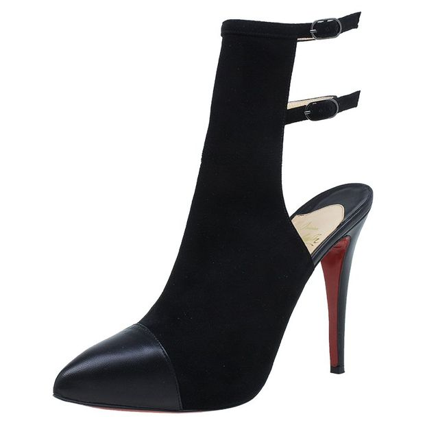 14f9ca67df4 Christian Louboutin Black Suede Double Strap Back Cap Toe Booties Size 39.5