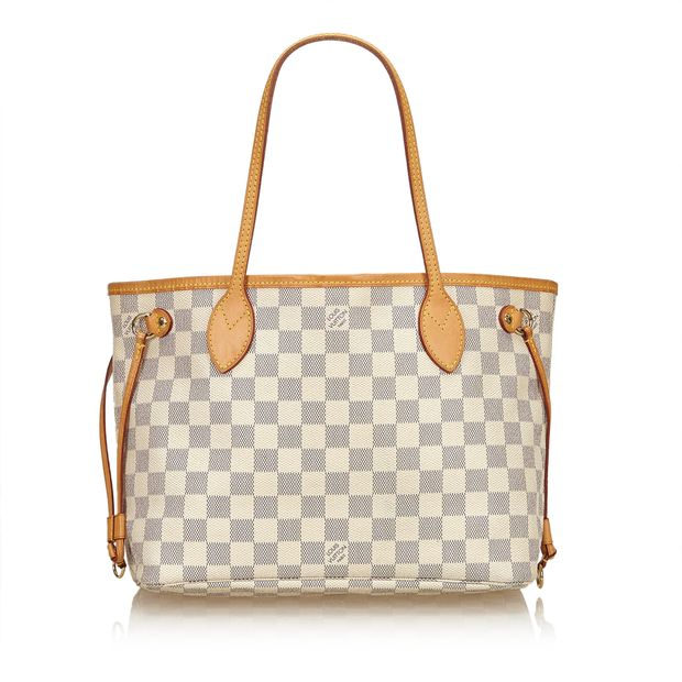 18869686be Damier Azur Neverfull PM by LOUIS VUITTON | StyleTribute.com