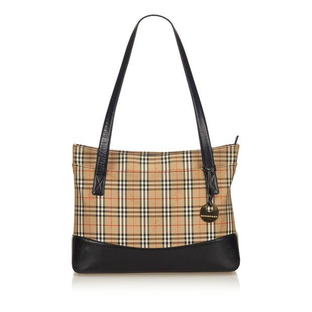 3f5c3d39cae Plaid Canvas Tote Bag by BURBERRY | StyleTribute.com