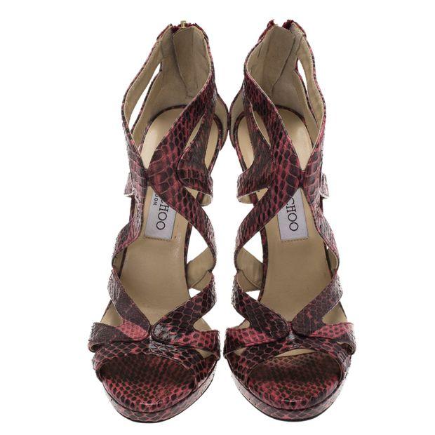 b5ff4997a12d JIMMY CHOO Jimmy Choo Pink Python Collar Platform Sandals Size 36.5 2  thumbnail