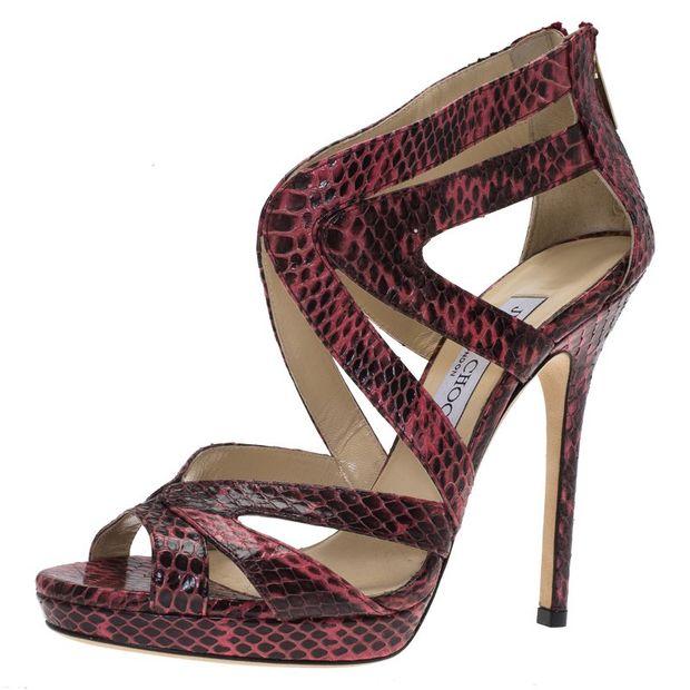d22e6ee10889 JIMMY CHOO Jimmy Choo Pink Python Collar Platform Sandals Size 36.5 1  thumbnail
