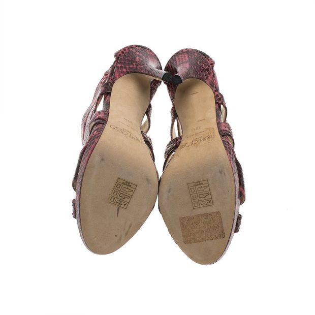 e77952283674 JIMMY CHOO Jimmy Choo Pink Python Collar Platform Sandals Size 36.5 4  thumbnail