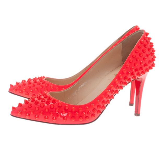 f589759f170a CHRISTIAN LOUBOUTIN Christian Louboutin Neon Coral Patent Pigalle Spikes  Pumps Size 38 2 thumbnail