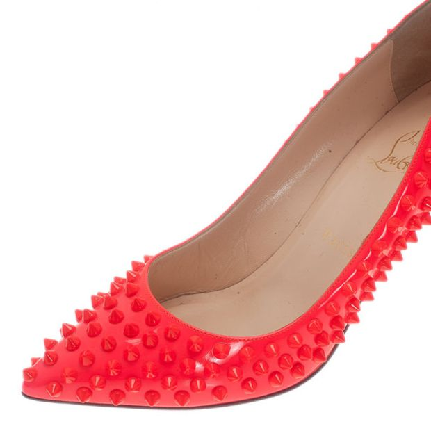 8d205aaf9e4c CHRISTIAN LOUBOUTIN Christian Louboutin Neon Coral Patent Pigalle Spikes  Pumps Size 38 7 thumbnail